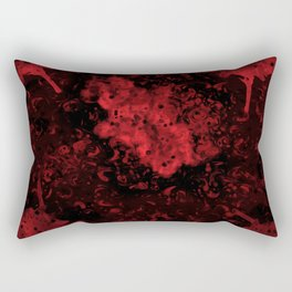 Red Black Drips Abstract Rectangular Pillow