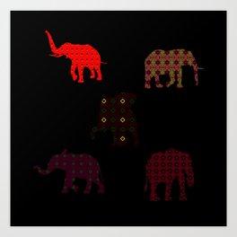 Five Elephants version1 Art Print