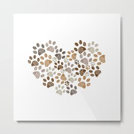 Made of heart doodle brown paw print Metal Print