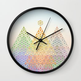 Flower of Life Pine Trees Wall Clock