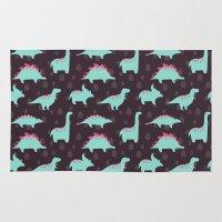 dinosaurs Area & Throw Rugs featuring Funny dinosaurs by Evgeniya Ivanova