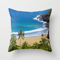hawaiian Throw Pillows featuring Hawaiian beach by Ricarda Balistreri
