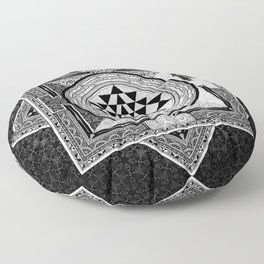 Sri Yantra Black & White Sacred Geometry Mandala Floor Pillow