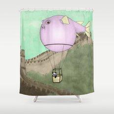 Panda flying on a blowfish Shower Curtain