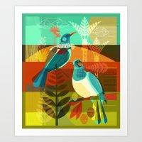 tui and kereru Art Print