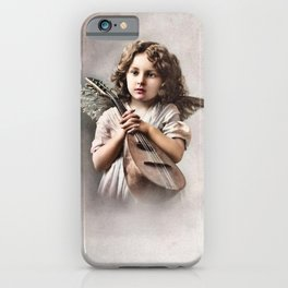 Vintage little girl angel, lute iPhone Case