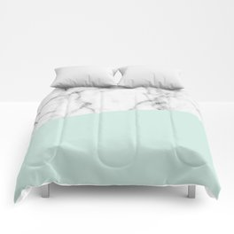 Real White marble Half pastel Mint Green Comforters