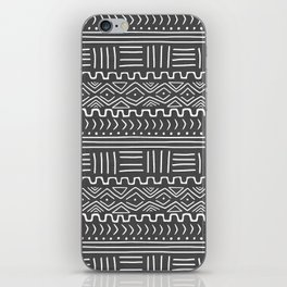 Mud Cloth on Gray iPhone Skin