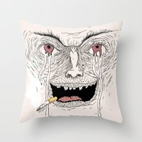 psycho Throw Pillows featuring Psycho by Davies Babies