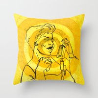 fitzgerald Throw Pillows featuring Ella Fitzgerald by Cristina Curto