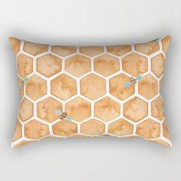 Honey Bee Hexagons Rectangular Pillow