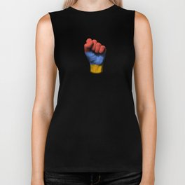 Armenian Flag on a Raised Clenched Fist Biker Tank