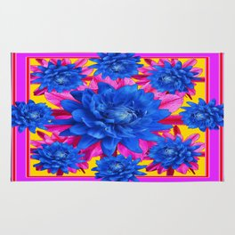 Decorative Puce Fuchsia Color Blue Tropical Flowers Pattern Rug