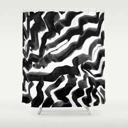 Bold Ink Stripes in Black and White Shower Curtain