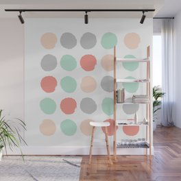 Painted minimal dots trendy gender neutral bright happy color palette nursery art Wall Mural