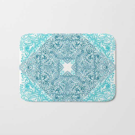 Teal Tangle Square Bath Mat