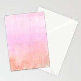 Abstract blush pink coral orange watercolor ombre Stationery Cards