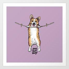 Hang In There Baby Corgi Art Print