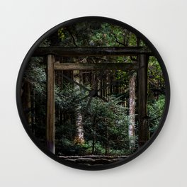 Torii in the forest (japan) Wall Clock