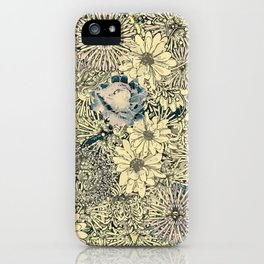 Gold and blue Flowers iPhone Case
