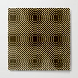 Black and Nugget Gold Polka Dots Metal Print