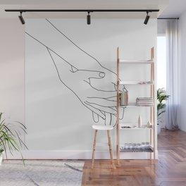Hands line drawing illustration - Kathy Wall Mural