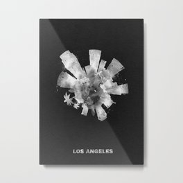 Los Angeles, California Black and White Skyround / Skyline Watercolor Painting (Inverted Version) Metal Print