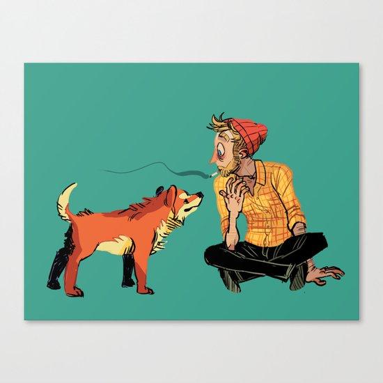 pet the dog Canvas Print