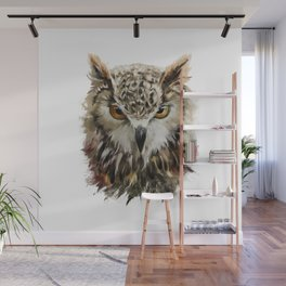 Owl Face Grunge Wall Mural