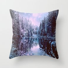 Lavender Blue Winter Wonderland Forest Throw Pillow