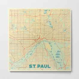St Paul Map Retro Metal Print