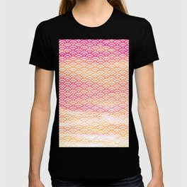 Fuchsia/Orange/Peach Watercolor Seigaiha Pattern T-shirt