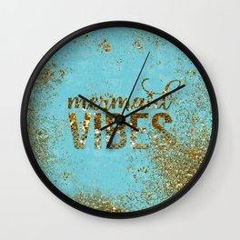 Mermaid Vibes - Gold Glitter On Teal Wall Clock