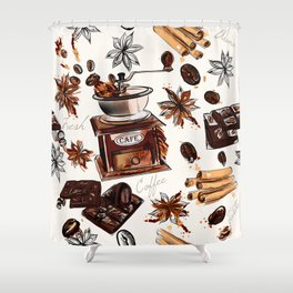 Coffee watercolor pattern with grains coffee mill and chocolate Shower Curtain