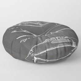 Hughes Lockheed Airplane Patent - Hughes Aviation Art - Black Chalkboard Floor Pillow