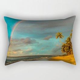 Rainbow Palm Tree Rincon Puerto Rico Rectangular Pillow