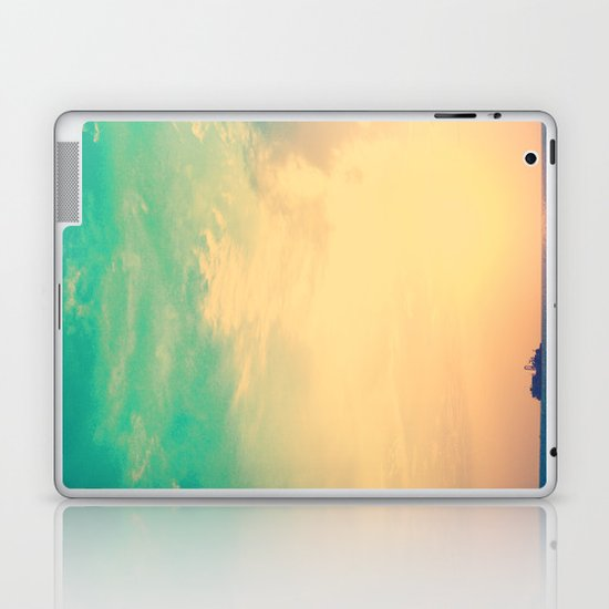 Ship in the beach on the sunset, and vintage turquoise sky Laptop & iPad Skin