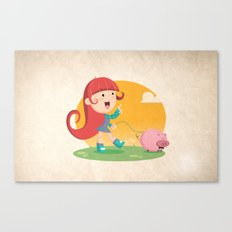 Lilly and Piggy Canvas Print