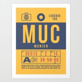 Retro Airline Luggage Tag 2.0 - MUC Munich International Airport Germany Art Print