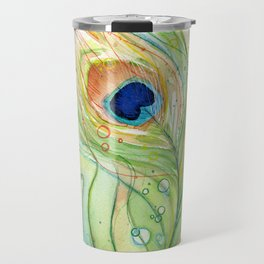Peacock Feather Green Texture and Bubbles Travel Mug