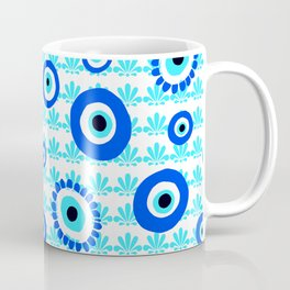 Evil Eye Symbol Blue White Pattern Coffee Mug