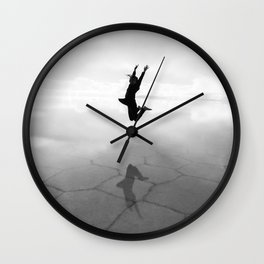 Abstract Beach | Jump for Joy Dramatic Black and White Happy Sunset Gray Bright Mood Wall Clock