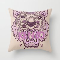 kenzo Throw Pillows featuring KENZO Tiger, pink  by cvrcak