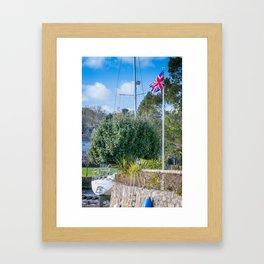 Mylor Bridge - Quay House Flag Pole Framed Art Print