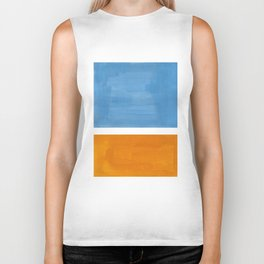Rothko Minimalist Abstract Mid Century Color Black Square Periwinkle Yellow Ochre Biker Tank