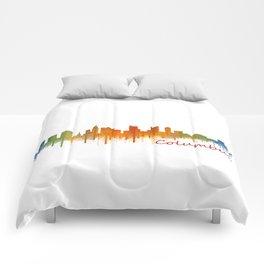 Columbus Ohio, City Skyline, watercolor  Cityscape Hq v2 Comforters