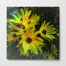 Abstract Yellow Flower Image Metal Print