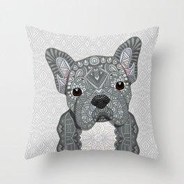Gray Frenchie 001 Throw Pillow
