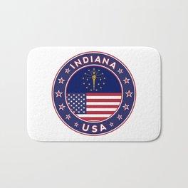 Indiana, Indiana t-shirt, Indiana sticker, circle, Indiana flag, white bg Bath Mat