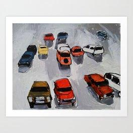 Rainy parking Art Print